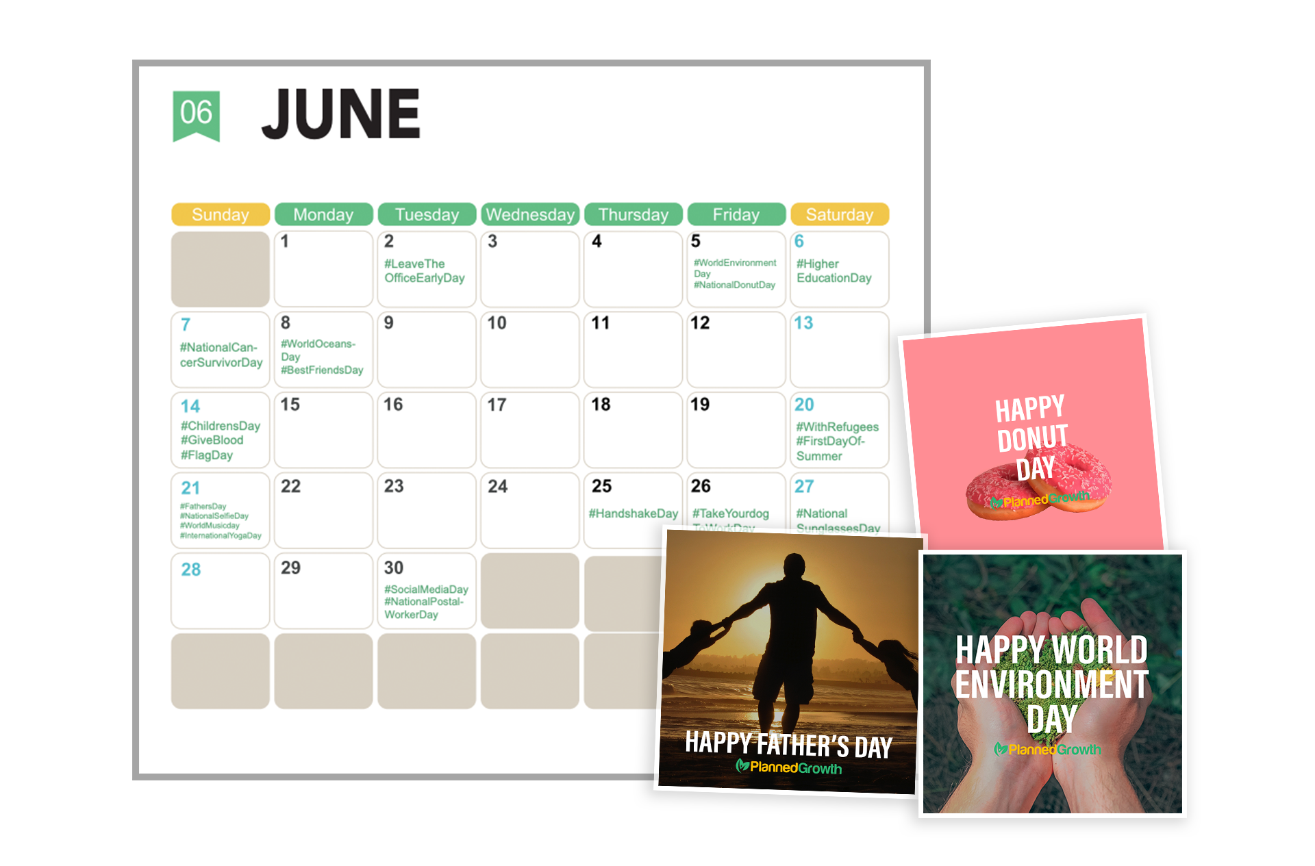 June Calendar showing Showing Social events happening each month